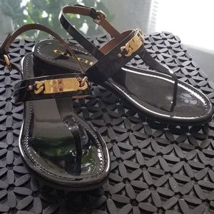 Authentic Coach Black Patent Leather Sandals